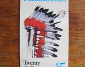 Native Americans Vintage Indians UNused US Postage Stamps Booklet of 20 25c Headdresses Assiniboine Cheyenne Comanche Flathead Shoshone