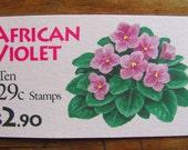 African Violets 10 Vintage UNused US Postage Stamps 29c Booklet Flower Horticulture Botany Botanical Save the Date Wedding Postage Philately