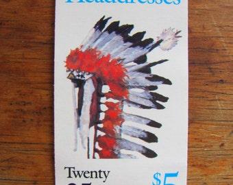 Native Americans Vintage Indians UNused US Postage Stamps Booklet of 20 25c Headdresses Assiniboine Cheyenne Comanche Flathead Shoshone