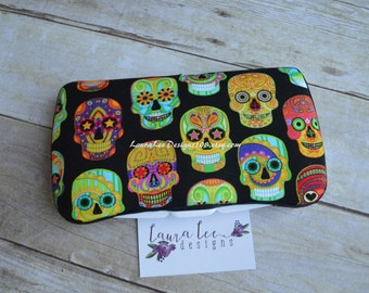 Colorful Sugar Skulls on Black Travel Baby Wipe Case, Diaper Wipe Case, Day of the Dead Nappy Wipes Case, Personalized Case, Wipe Holder