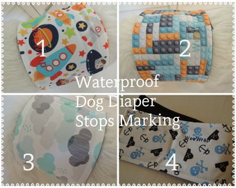 Dog Diaper, Plus ZORB, Waterproof PUL Belly Band, Stop Marking, WeeWrap, Personalized, FAST Shipping