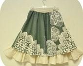 Doilie Doodle - Light Green Layered Doilies Skirt, Bohemian Elegance,  Vintage Doilies, Barefoot Modiste Handmade, Suited for - size Large