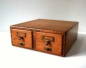 Antique Oak Library Card Catalog 2 Drawer Cabinet / Library Bureau Safe Makers / Old Brass Hardware / Storage Organization / Index Card File