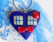 Bow Ties Are Cool Necklace- Tardis Heart Necklace/Handmade