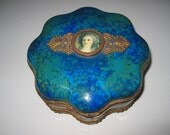 """Rare Sevres Porcelain Scallop Box 7"""" Lady Portrait Paul Milet Hand Painted Emerald Green & Blue with Ormolu Made in France"""