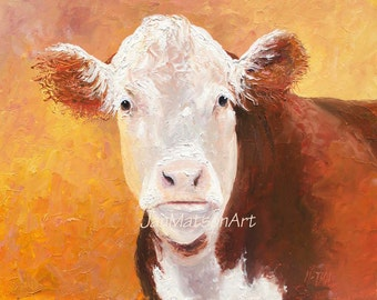 Hereford Cow oil painting, FRAMED Animal Art, cattle art, Kitchen painting, kitchen wall decor, ranch decor, country decor,Etsy art, Matson