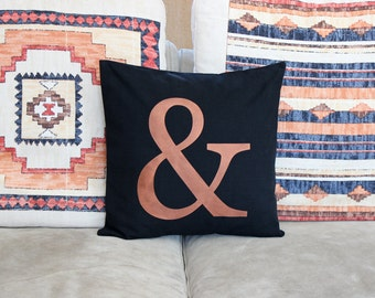Ampersand Pillow Cover 16 x 16 Ampersand Symbol Cushion Black and Copper Decorative Pillow Modern Throw Pillow