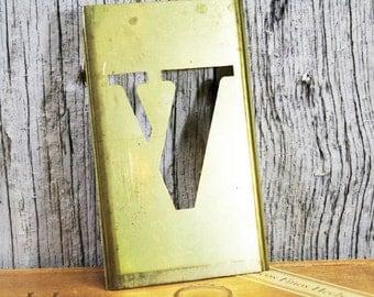 Brass Stencil V, Letter V, Capital letter V, Metal Stencil, Vintage 4 inch stencil