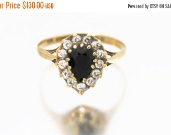 SUMMER SALE Vintage Ladies Sapphire CZ Engagement Cluster Ring Teardrop Pear 9ct 9k Yellow Gold | Free Shipping | Size N.5 / 7