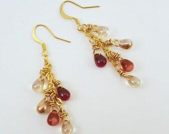 Wine Blend - Czech Glass Drop Gold Earrings