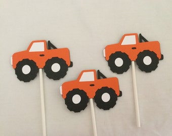 12 orange Monster Truck Cupcake Toppers Monster Truck birthday party decorations