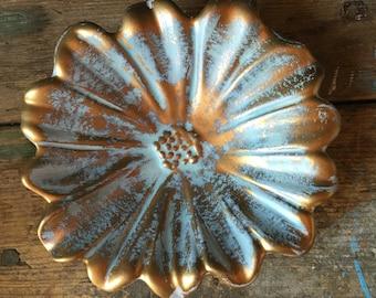 Vintage Golden Flower Dish
