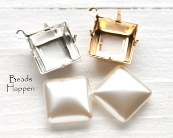 14mm Square Creamy White Glass Pearls with Settings, Select Plating Style, Quantity 2 Pearls and 2 Settings