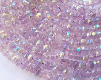 Amethyst AB Mystic Faceted Rondelle Beads Strand-13.5 Inches Full Strand-3X5 mm