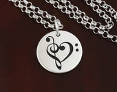Love Notes - Music Lover's Heart Necklace  -  Bass Clef and Treble Clef  -  Sterling Silver