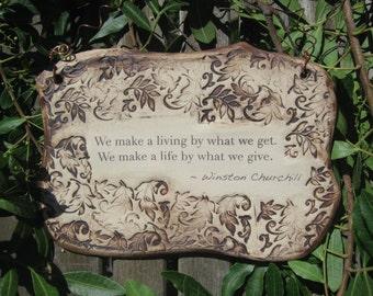 Winston Churchill Inspirational Quote Ceramic Plaque - Sepia