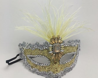 Masquerade Mask,Yellow Gem Ostrich Feather Masquerade Mask,Women's Mask