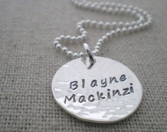first and middle name stamped necklace, mothers necklace with two names, two names on one disc, stamped name tag necklace, push present