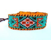 Wetlands Native American Inspired, Beaded Seafoam, Orange and Brown Cuff Bracelet on Deer Hide