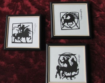 Papercut framed set silhouette black and white