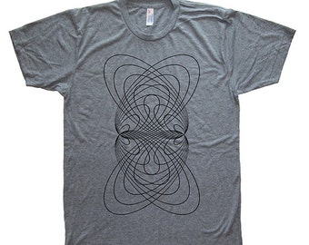 Mens T Shirt - Geometric Elliptical Mens / Unisex T Shirt - Tri Blend Heather Gray - Made in the USA - Hand Printed - Size S, M, L, XL - Tee