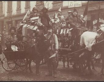 Carnaval Revelers in Frankfurt, German RPPC, circa 1905
