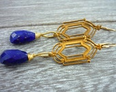 Art deco lapis lazuli drop earrings. Something blue.
