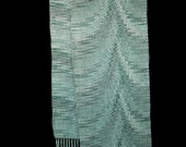 Handwoven Scarf, Hand Woven Scarf, Lightweight Spring Scarf, Aqua, Teal & Black, Dressy Woman Fashion