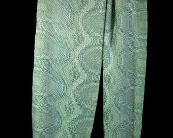 Hand Woven Scarf, Pale Green Spring Scarf, Wearable Fiber Art, Handwoven Scarf
