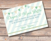 Diaper and Wipes Raffle Tickets Mint Blue Green Gold Twins Shower Gender Neutral Aqua Bunting Banner Diaper Ticket Baby Boy INSTANT DOWNLOAD