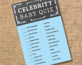 Printable Baby Boy Shower Game Chalkboard Blue and Gray Printable Celebrity Baby Match Game Chalkboard Grey & Blue Twins - INSTANT DOWLOAD