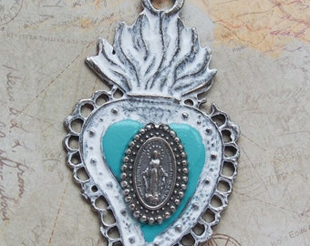 Sacred Heart Milagro Necklace with Marian Medal