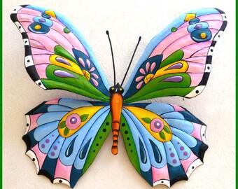"""Metal Art Butterfly, Outdoor Metal Wall Art, Butterfly Wall Decor, Painted Metal Wall Hanging, Garden Metal Art, 36"""", J-903-PK-BL-36"""