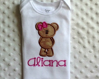 Baby Girl Personalized Onesie with Appliqued Teddy Bear