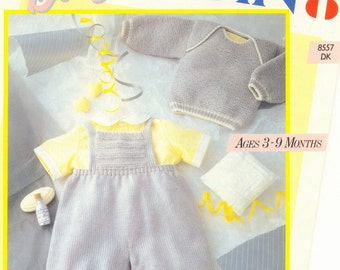 BABY Knitting Pattern Sweater Rompers  Pingouin Original Knitting Pattern Ages 3-18 months