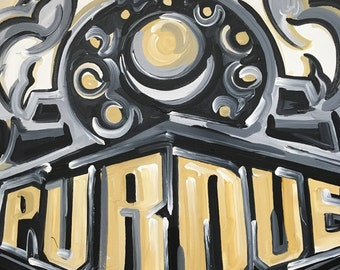 40x30 Officially Licensed Purdue University Painting Justin Patten Art College Football Basketball Purdue Pete Train Boilermaker Express