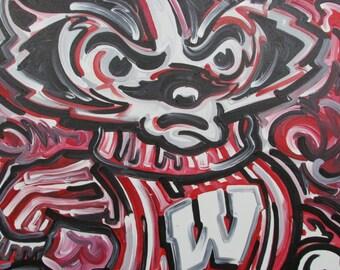 24x30 Officially Licensed University of Wisconsin Buckey Badger Paintin Justin Patten Art College Football Basketball Madison Hockey
