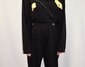 Vintage 80's Black Brass Studded Long Sleeve Jumpsuit by Rio Inc - Size Medium