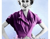 Vintage 1950s Sewing Pattern Wrap Blouse Convertible Top Easy One Hour Digital Download PDF