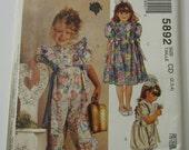 UNCUT McCalls Pattern 5892 Girls Jumpsuit in Two Lengths & Dress Sizes 2,3,4 Vintage 1990s