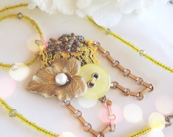 Yellow Chartreuse Beaded Necklace made from Recycled Vintage Jewelry, Gold Leaf, Lace, Retro Button, and Faux Pearl