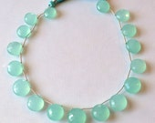 Reserved - Aqua Chalcedony Coins Top Drilled, Set of 6