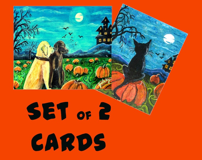 Halloween Cards Pumpkin Patch Dogs and Cat