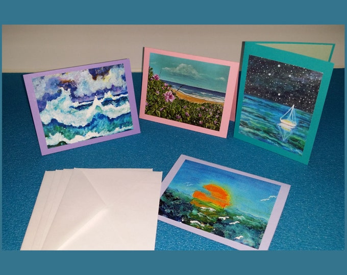 Beach Greeting Cards set of 4