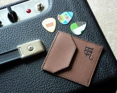 Monogrammed Pick Pouch, Vegan Leather Pouch, 6 Upcycled Guitar Picks, PIC10550