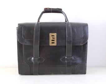 Vintage Seward Luggage Mfg Black Leather Hard Briefcase