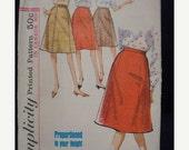 1960s Gored Skirt A Line Skirt Flared Skirt Waistband Simplicity 5624 © 1964 Proportioned Waist 26 Uncut FF Women's Vintage Sewing Pattern