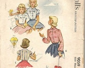 SALE 1950s Girls Blouse Sewing Pattern Puffed or Long Sleeve Yoke Peter Pan Collar McCall's 9059 Size 6 Breast 24 Girls Vintage Sewing Patte