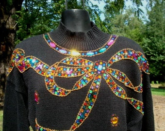 Ugly Christmas Sweater Sequins Rhinestones Christmas Bow Size Large Bust 40-42 Christmas Party Ugly Sweater Contest
