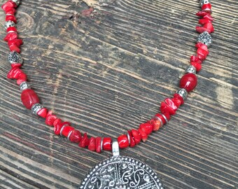 Red Coral Necklace with Silver Pendant